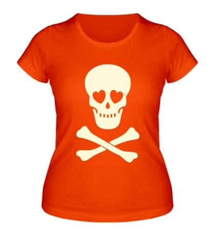 Женская футболка Череп влюбленного, свет
