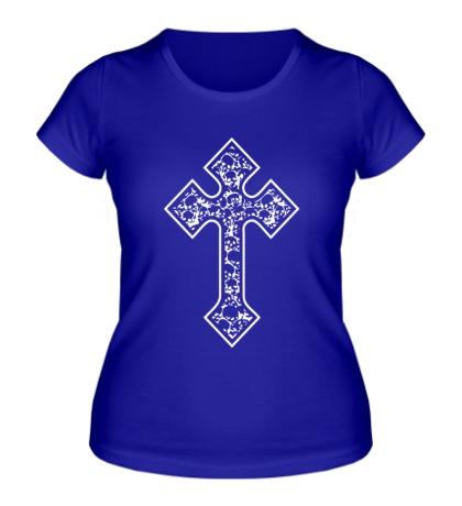 Женская футболка Готический крест из черепов