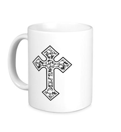 Керамическая кружка Готический крест из черепов
