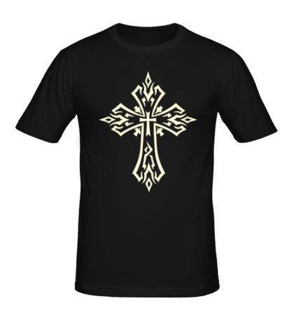Мужская футболка Готический крест-тату, свет