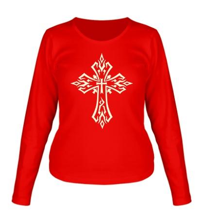 Женский лонгслив Готический крест-тату, свет