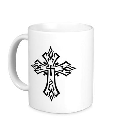 Керамическая кружка Готический крест-тату