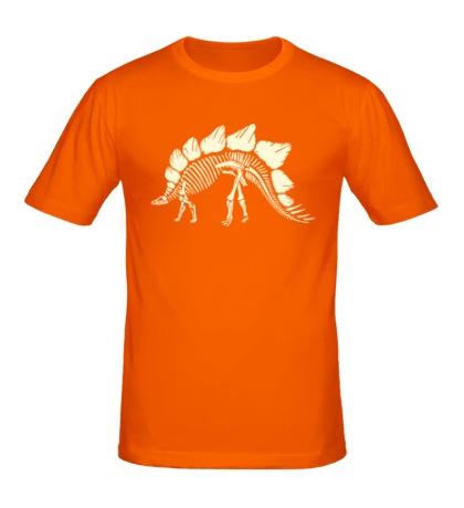 Мужская футболка Скелет стегозавра, свет