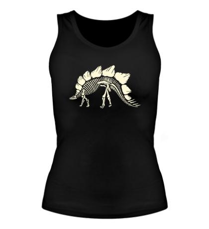 Женская майка Скелет стегозавра, свет