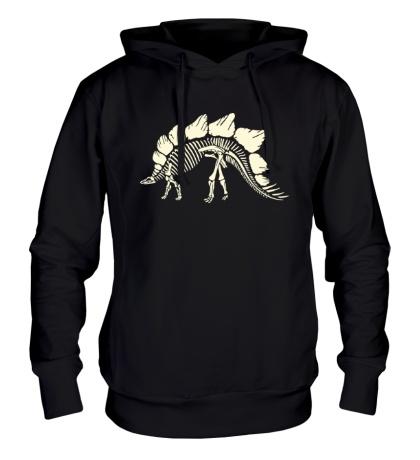 Толстовка с капюшоном Скелет стегозавра, свет