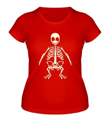 Женская футболка Скелет пингвина, свет