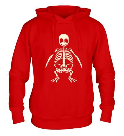 Толстовка с капюшоном Скелет пингвина, свет