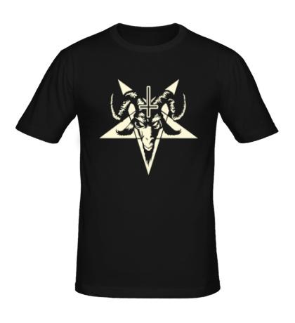 Мужская футболка Пентаграмма Сатаны, свет