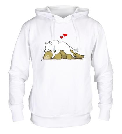 Толстовка с капюшоном Влюбленные волки