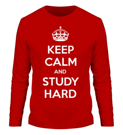 Мужской лонгслив Keep calm and study hard