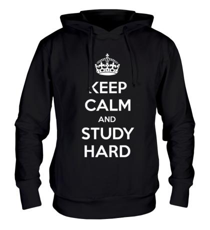 Толстовка с капюшоном Keep calm and study hard