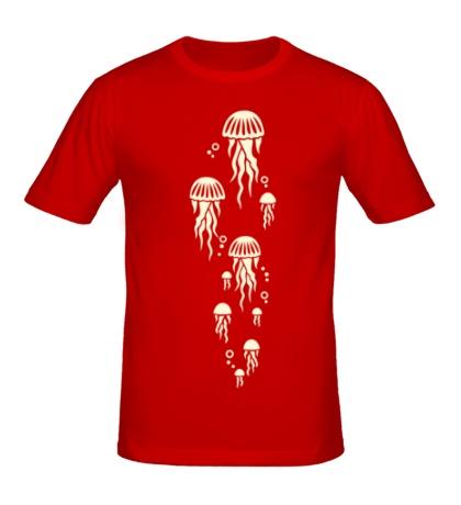 Мужская футболка Стая медуз, свет