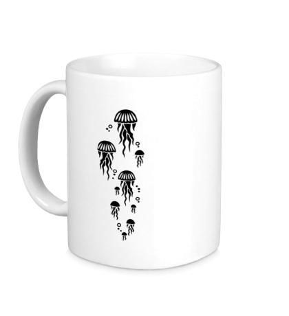 Керамическая кружка Стая медуз