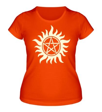 Женская футболка Огненная пентаграмма, свет