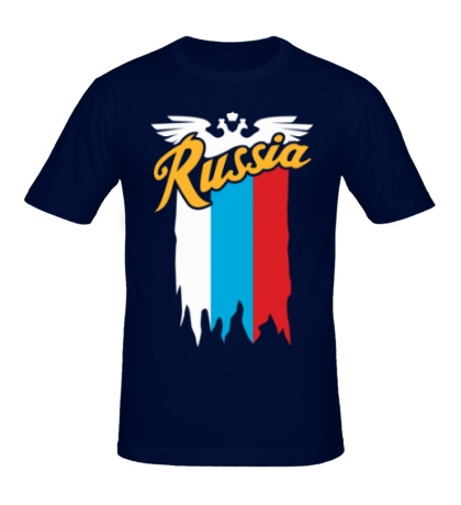 Мужская футболка Russia каллиграфия флаг