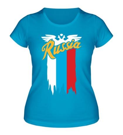 Женская футболка Russia каллиграфия флаг