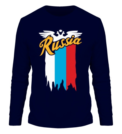 Мужской лонгслив Russia каллиграфия флаг