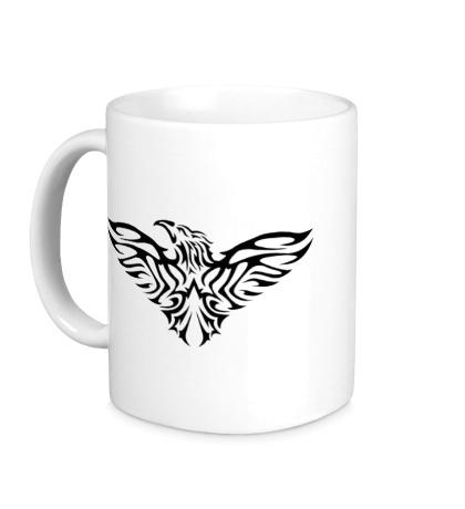 Керамическая кружка Тату силуэт орла