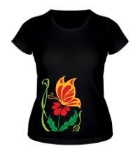 Женская футболка Бабочка на цветке