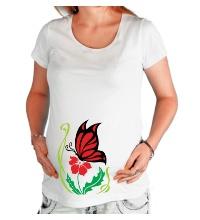 Футболка для беременной Бабочка на цветке