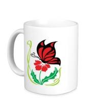 Керамическая кружка Бабочка на цветке