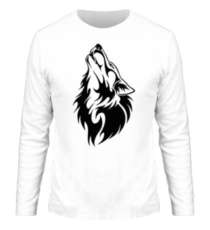 Мужской лонгслив Воющий волк