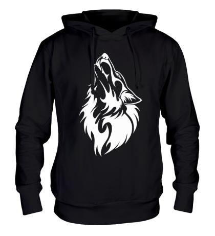 Толстовка с капюшоном Воющий волк