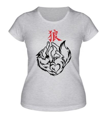 Женская футболка Волк с иероглифом