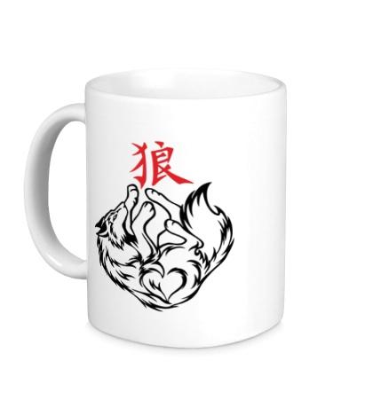 Керамическая кружка Волк с иероглифом