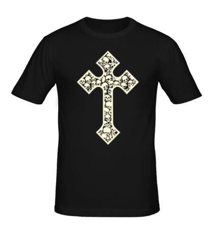 Мужская футболка Готический крест из черепов, свет