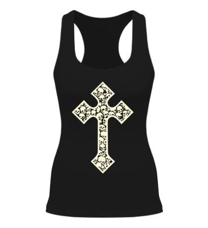 Женская борцовка Готический крест из черепов, свет