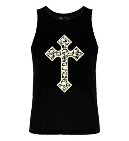 Мужская майка Готический крест из черепов, свет