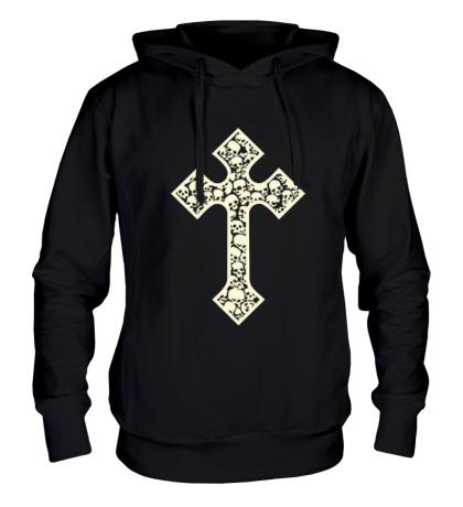 Толстовка с капюшоном Готический крест из черепов, свет