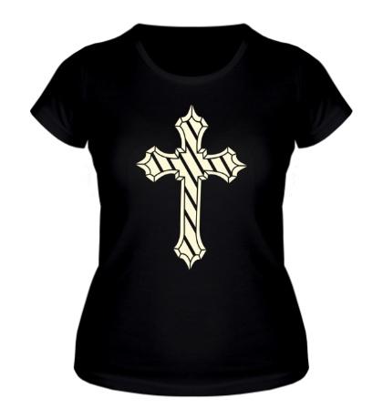 Женская футболка Старинный крест, свет