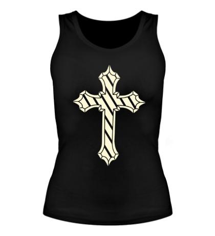 Женская майка Старинный крест, свет