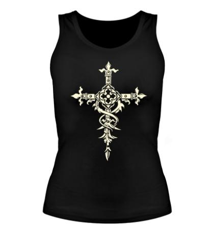Женская майка Готический крест, свет