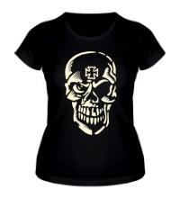 Женская футболка Череп тамплиера, свет