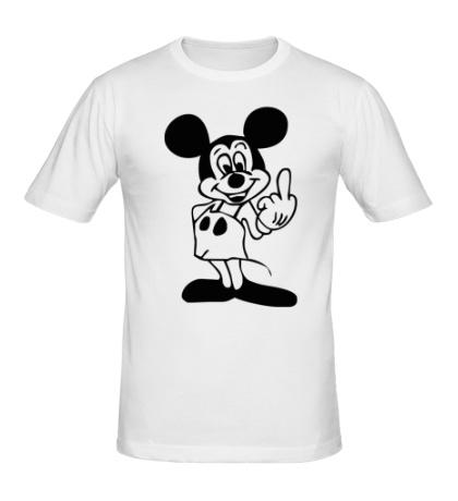 Мужская футболка Микки показывает фак