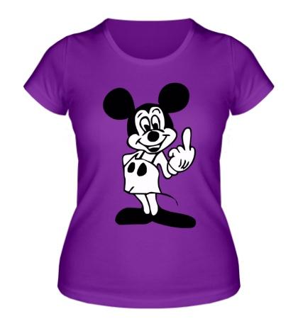Женская футболка Микки показывает фак
