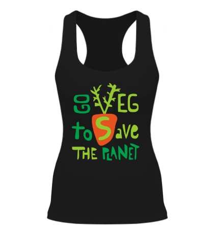 Женская борцовка «Go veg to save the planet»