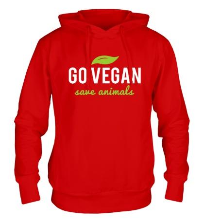Толстовка с капюшоном «Go Vegan Save Animals»