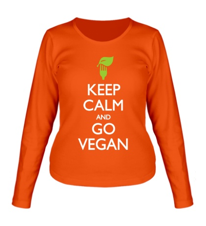 Женский лонгслив «Keep Calm and go Vegan»