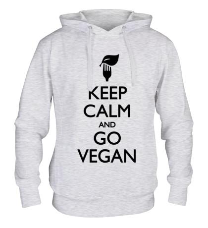 Толстовка с капюшоном Keep Calm and go Vegan