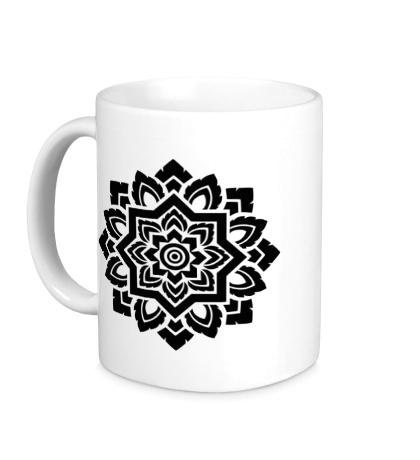 Керамическая кружка Цветок: орнамент