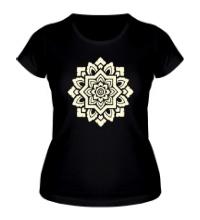 Женская футболка Цветок: орнамент, свет