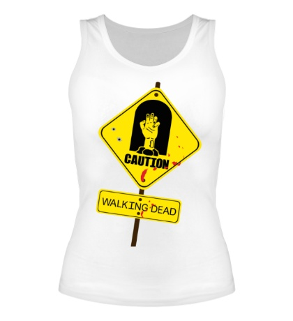Женская майка Caution, Walking dead