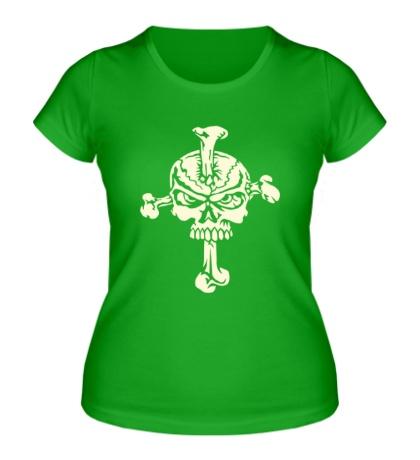 Женская футболка Череп на кресте, свет