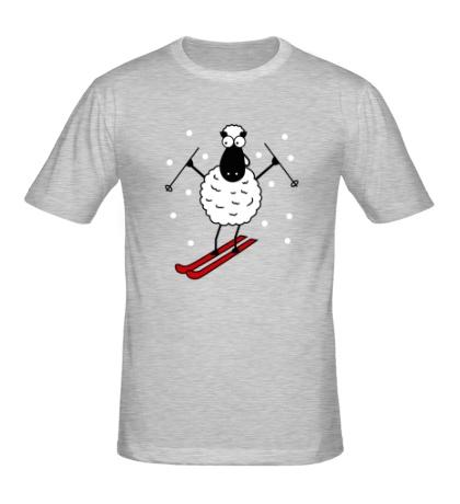Мужская футболка Овечка на лыжах