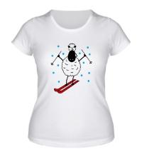 Женская футболка Овечка на лыжах