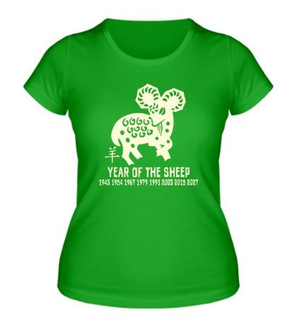 Женская футболка Год овцы по китайскому календарю свет